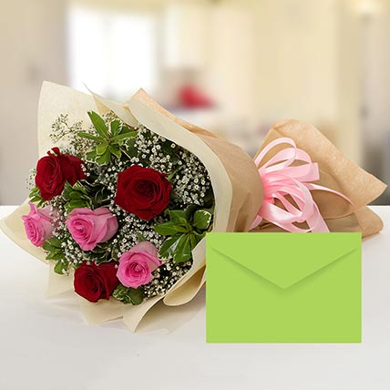Attractive Roses Bouquet With Greeting Card BH:
