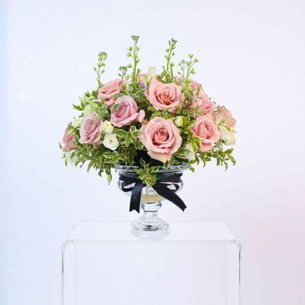 Appealing Light Pink Rose & Spray Rose Arrangement: Flower Shop in Bahrain