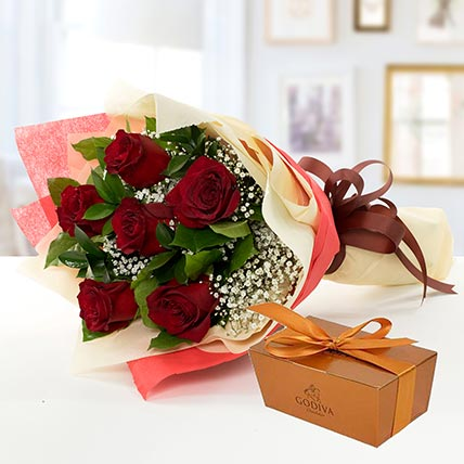 6 Red Roses and Godiva Chocolate Combo: Send Flowers to Bangladesh