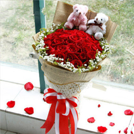 Lovely Red Roses and Teddy Bears: Flower Delivery China