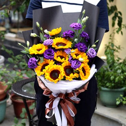 Sunflowers and Eustomas: Gifts To China