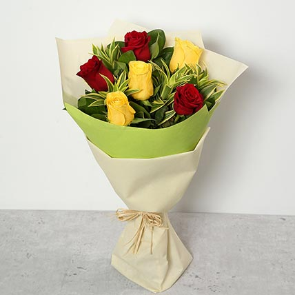 Red and Yellow Roses Bouquet EG: Egypt Gift Delivery