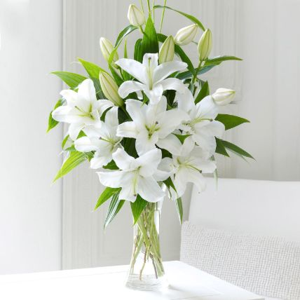 Serene White Lilies In Vase: Send Flowers to Egypt