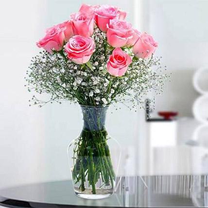 Glorious 12 Pink Roses JD: