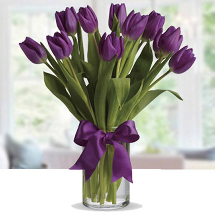 Purple Tulip Arrangement KT: Kuwait Flowers