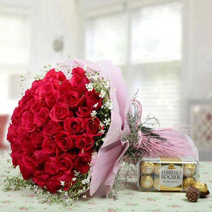 Pink Roses Bunch With Ferrero Rocher: Kuwait Flowers