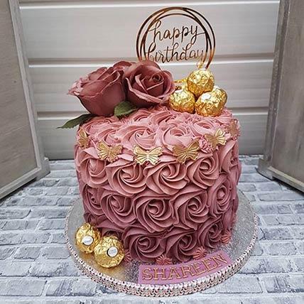 Rosy Birthday Cake: