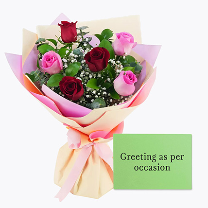 Attractive Roses Bouquet With Greeting Card: Propose Day Flowers & Greeting Cards