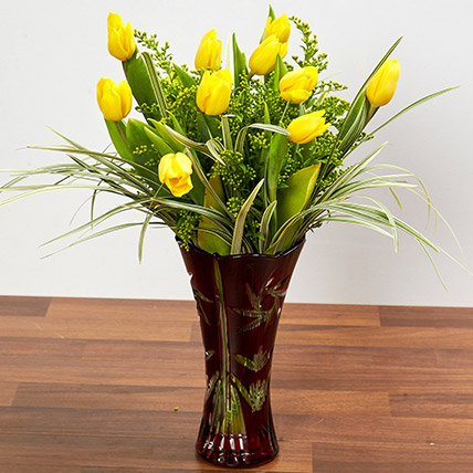 Bright Yellow Tulips In Maroon Vase: Gifts for him