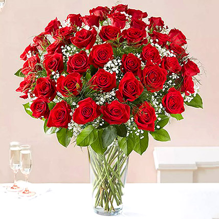 Bunch of 50 Scarlet Red Roses: Order Flowers