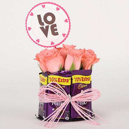 Chocolatey Love Arrangement: Karwa Chauth Gift to Wife
