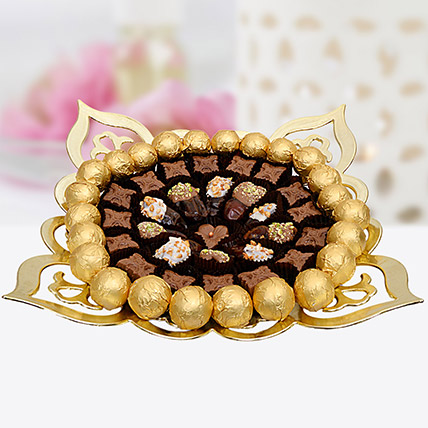 Dates And Truffles Golden Tray: Diwali Gift Ideas