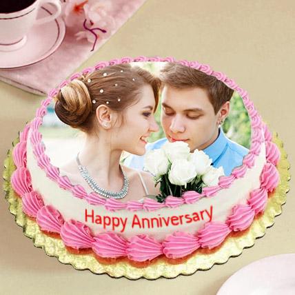 Delicious Anniversary Photo Cake: