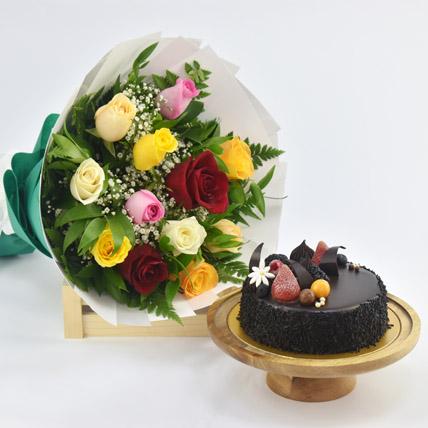 Dozen Multi Roses with Fudge Cake: New Year Flowers & Cakes