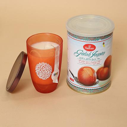 Gulab Jamun and Decorative Candle Combo: Diwali Diyas for Sale