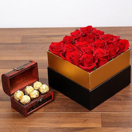 Idyllic Red Roses and Chocolates: Flowers & Chocolates