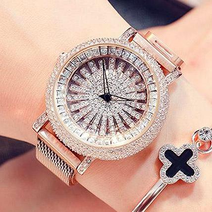 Korean Diamond Star Golden Watch: