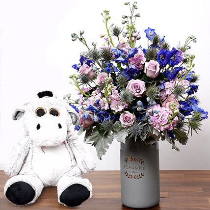 Matthiola and Eryngium In Vase With Teddy Bear: Flowers & Teddy Bears