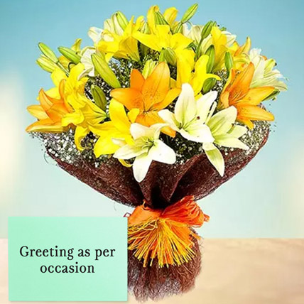 Mixed Lilies Bouquet With Greeting Card: Friendship Day Cards