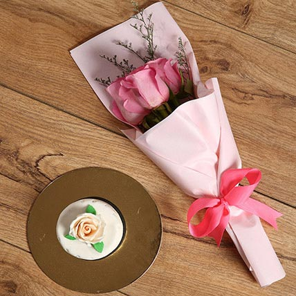 Pink Roses Bouquet and Mono Cake Combo: