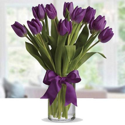 Purple Tulip Arrangement: Congratulations Flower Bouquet