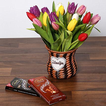 Quaint Mixed Tulips Basket and Chocolates: Flowers & Chocolates