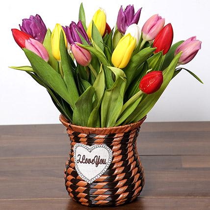 Quaint Mixed Tulips Basket: Flower Arrangements