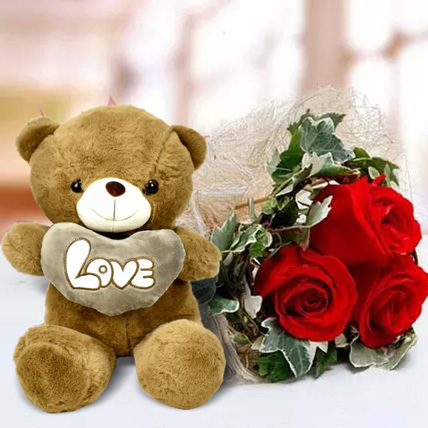 Red Roses and White Teddy Combo: Flowers & Teddy Bears for Mothers Day