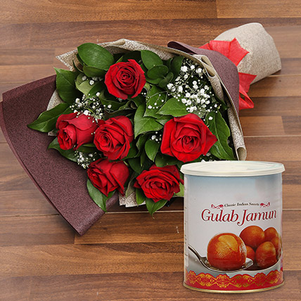Red Roses Bouquet and Gulab Jamun Combo: Sweets