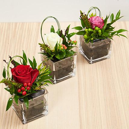 Set Of 3 Flower Vase Arrangements: Wedding Flower Arrangements
