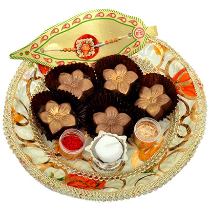 Small Raksha Bandhan Tray with Golden Flowers: Chocolates in Ras Al Khaimah