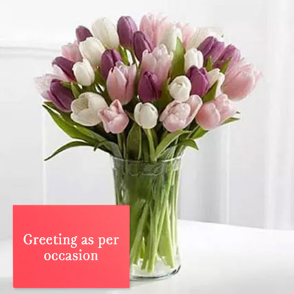 Tulips Vase Arrangement With Greeting Card: Karwa Chauth Flowers & Greeting Cards