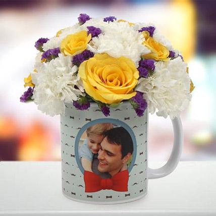 Spectacular Floral Arrangement: Personalized Mugs Dubai