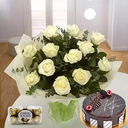 Pure Love Combo: Fathers Day Flowers & Cakes