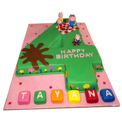 Peppa Pig Number Cake: Peppa Pig Birthday Cake
