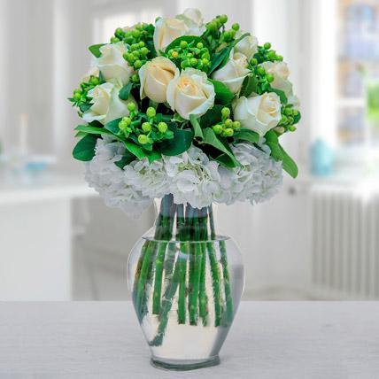 Arranged In Green N White: Ramadan Flower Arrangements