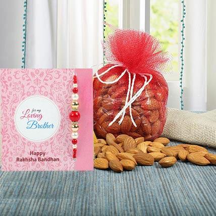 Almonds N Blue Zardosi Rakhi: Rakhi With Dryfruits