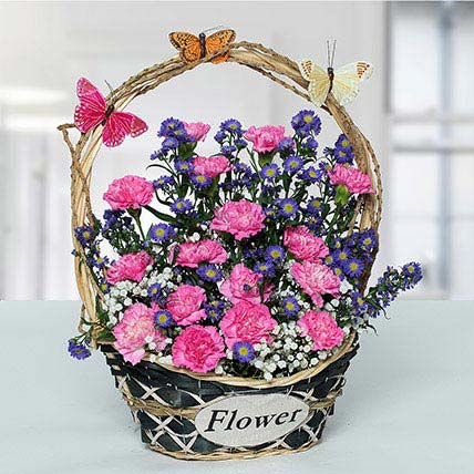 Deightful Carnations N Blue Aster Flower Basket: Basket Arrangements