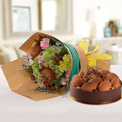 Delightful Flower Bouquet With Tiramisu Cake: Fathers Day Flowers & Cakes