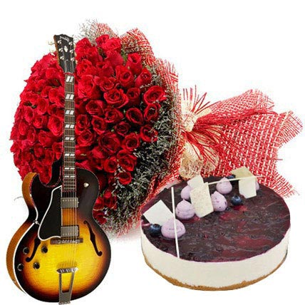 Grand Celebration with Cake: Flowers & Guitarist Service