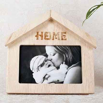 Wooden Home Shaped Frame: Personalised Photo Frames