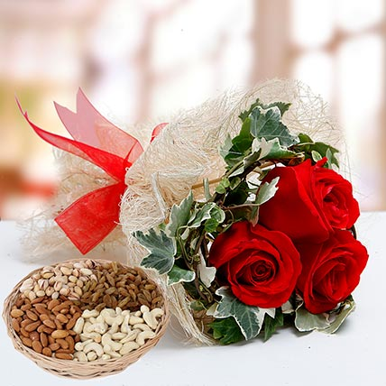 Velvety Rose Bouquet and Dry Fruits Combo: Flowers and Dry Fruits