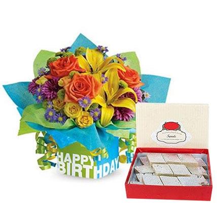 Mixed Flowers Arrangement and Kaju Katli Combo: Birthday Flowers & Sweets