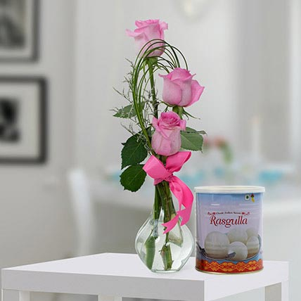 Pink Roses Arrangement and Rasgulla Combo: Birthday Flowers & Sweets