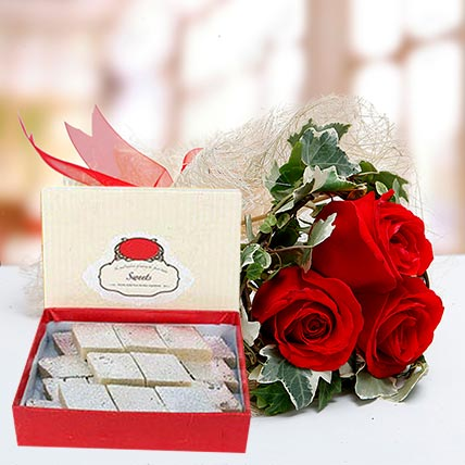 Red Roses Bouquet and Kaju Katli Combo: Eid Flowers & Sweets