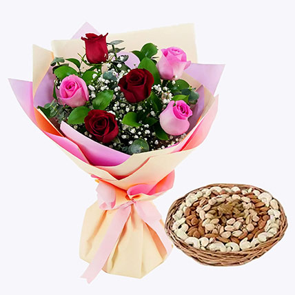 Captivating Roses Bouquet and Dry Fruits Combo: Birthday Flowers and Dry Fruits