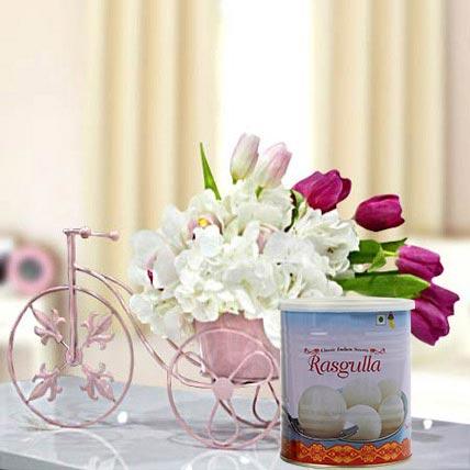 Refreshing Flowers Arrangement and Rasgulla Combo: Happy Diwali Flowers