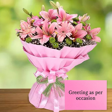 Pink Flowers Bouquet With Greeting Card: Anniversary Flowers & Greeting Cards