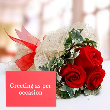 Red Roses Bouquet With Greeting Card: Birthday Flowers & Greeting Cards