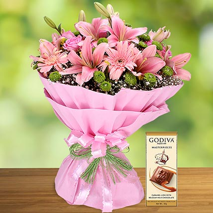 Pink Flowers Bouquet and Godiva Chocolate Combo: Flowers and Chocolate Delivery